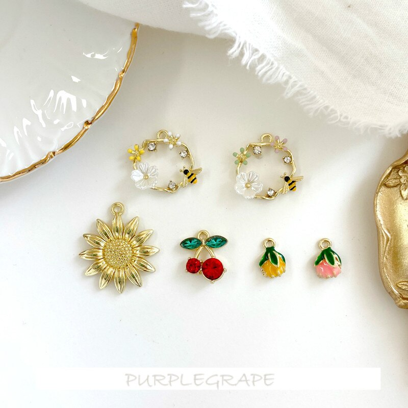 4 Uds. Exquisitos accesorios de cristal Mori, flor de girasol cereza, bracks hechos a mano, pendientes caseros, colgante DIY, Material de joyería