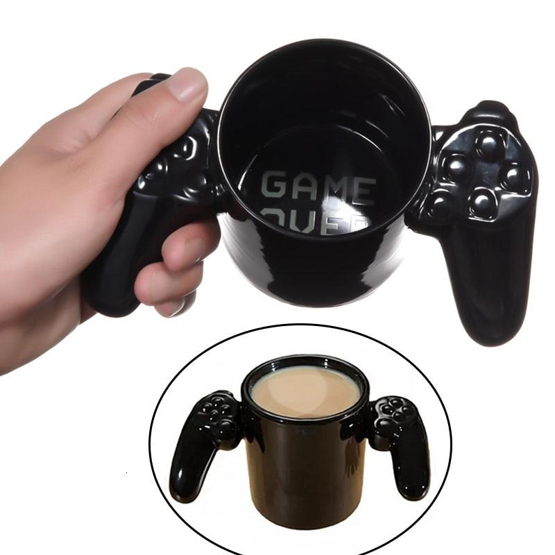 Creative Game Over mugs Gamepad Coffee mug 3D Game Controller Handle Mug Ceramic Cup Milk Tea Mugs Gameboy Gamers'Gift Christmas