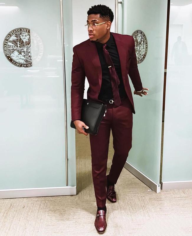 Trajes de dos piezas elegantes para hombre, ajustado esmoquin de boda, chaqueta y pantalones de baile Formal con un solo botón, con corbata