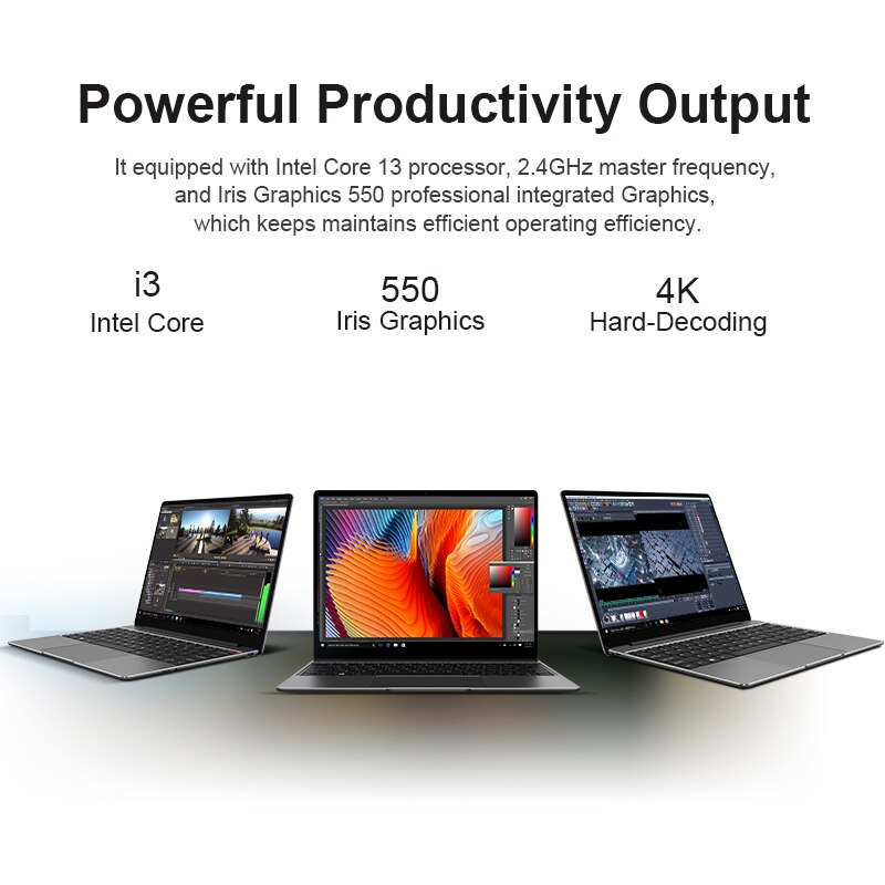 CHUWI CoreBook Pro 13inch Laptop Intel Core i3-6157U Dual Core 8GB RAM 256GB SSD Windows 10  Backlit keyboard Bluetooth 4.2