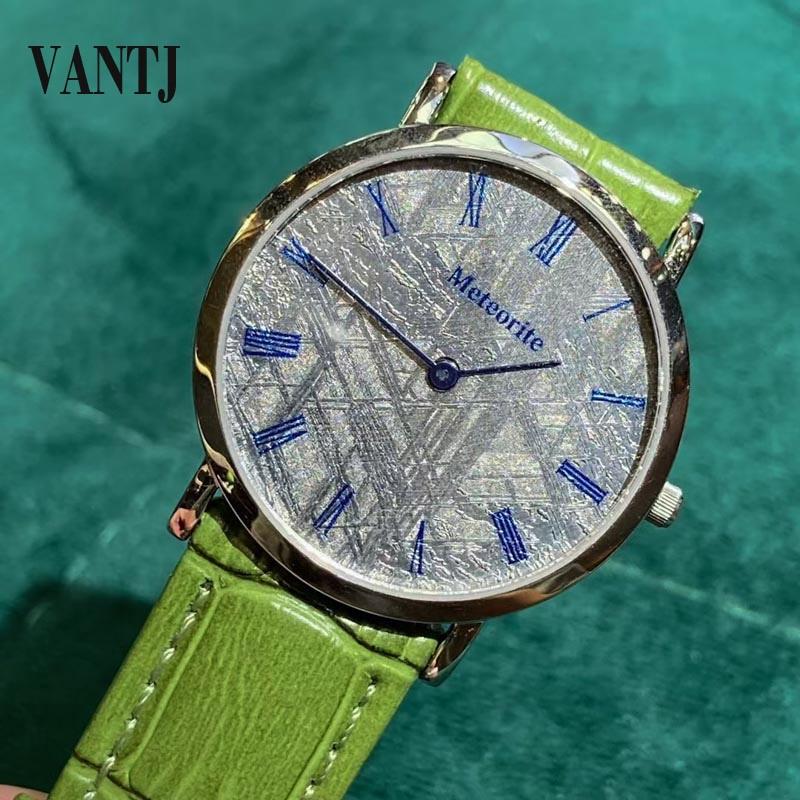 VANTJ عادية موضة الطبيعية نيزك ساعة الفولاذ المقاوم للصدأ الياقوت للرجال النساء ساعة حفلة زفاف هدية