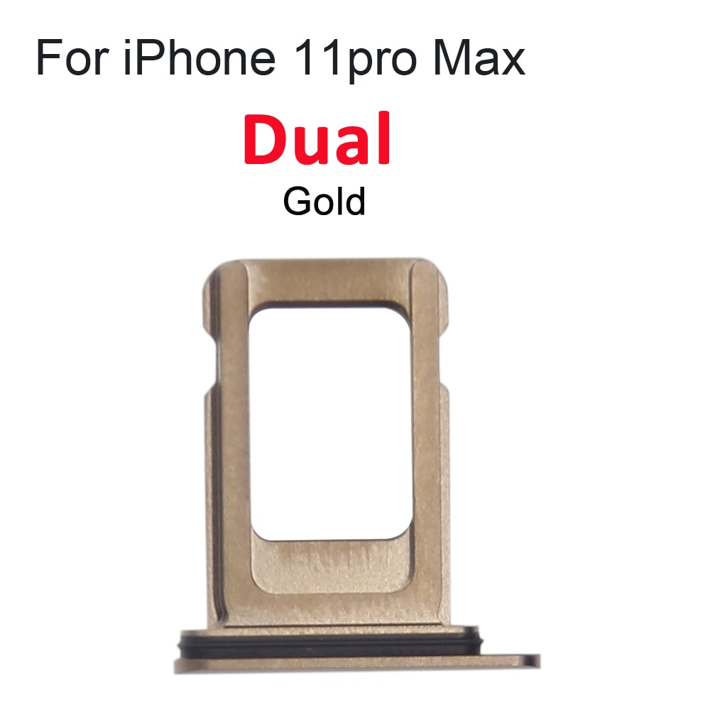 2pcs Dual Single SIM Card Tray Holder For iPhone 11 11Pro Max SIM Card Slot Reader Socket Adapter With Waterproof Rubber Ring