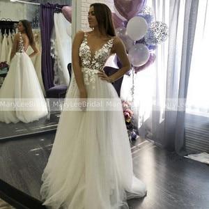 MaryLeeBridal Boho 3D Lace Wedding Dress Backless V Neck Appliqued Bridal Dresses Vestido De Novia Russian Bride Wedding Gowns