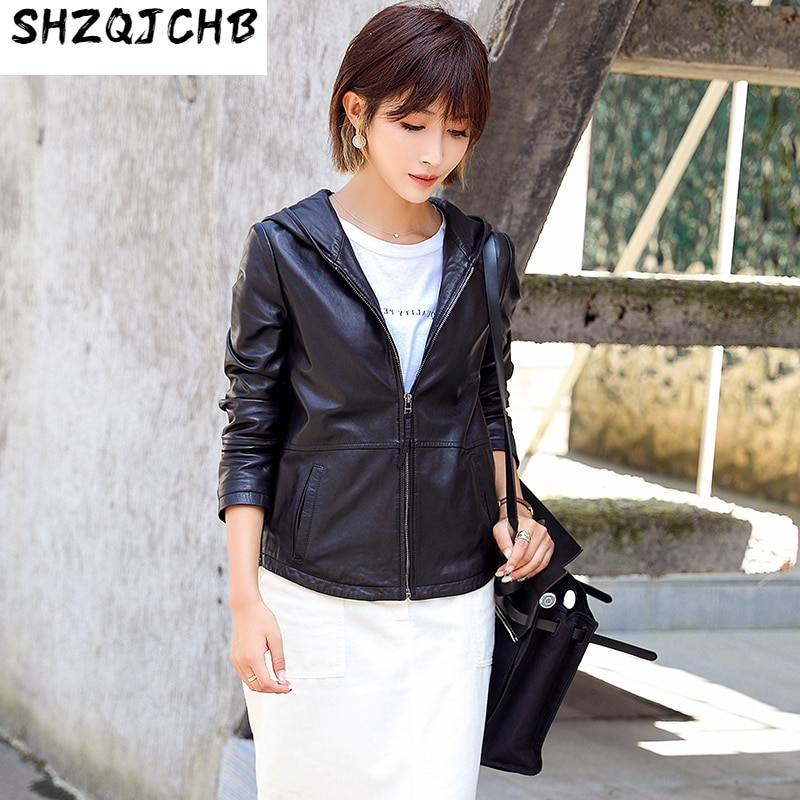 JCHB 2021 الخريف والشتاء جديد هاينينغ جلد الغنم معطف جلد المرأة قصيرة دراجة نارية الكورية نمط هوديي سترة