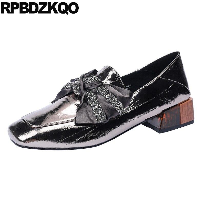 Bombas de Dedo do pé Deslizamento em Arco Quadrado Grosso Sapatos Femininos Luxo Pista Tamanho 4 34 Marca 2021 Bloco Casual Arma Cor Moda Chunky Designer