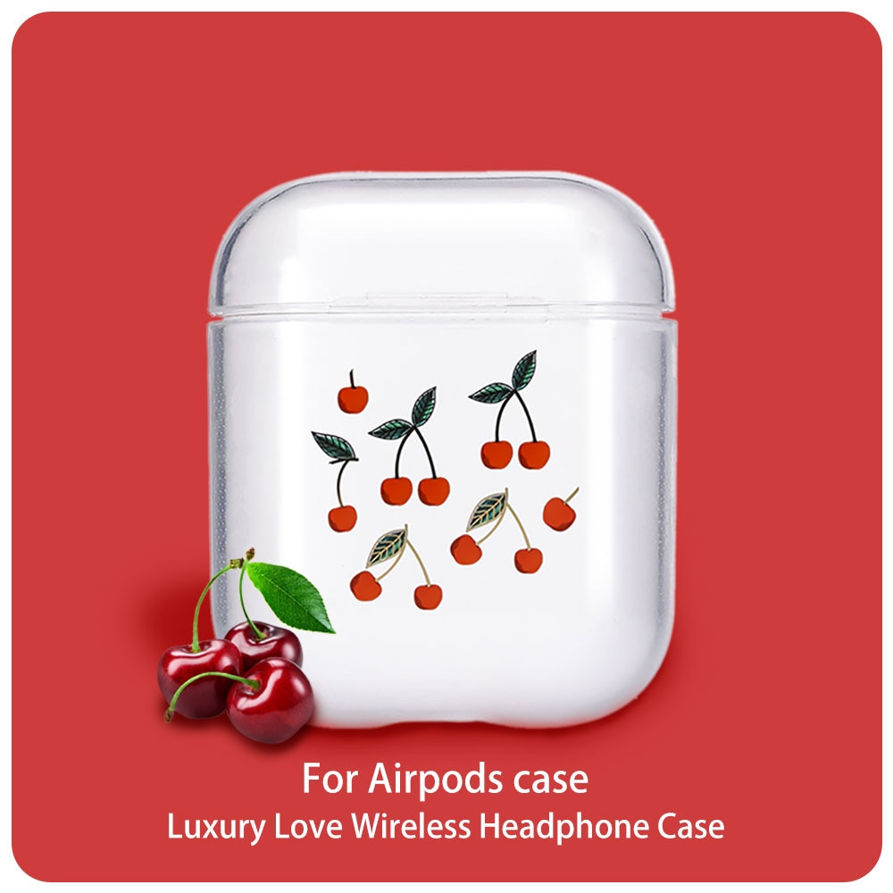 Casos para los Airpods Linda cereza pintado suave transparente casos para los AirPods 1/2 estuches funda protectora auricular inalámbrico caso