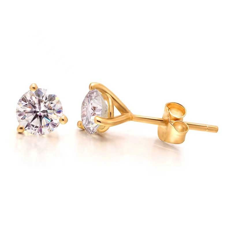 10 gold round coated cakeboard 12 ct Genuine 18K Gold Round Moissanite Earrings for Women Top Quality 0.1-0.5 Ct D Color VVS1 Simple Moissanite Stud Earrings Gift