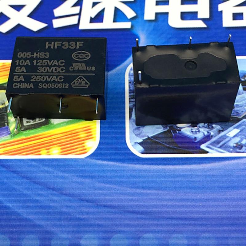 New 10pcs/lot relay  JZC-33F-005-HS3 JZC-33F 005-HS3 JZC33F 005HS3 HF33F-005-HS3 DC5V HF33F 10A 4PIN