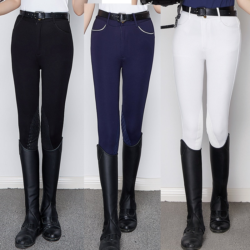 Horse Riding Pants Silicon Women Chaps Equestrian Horseback Riding Breeches Black White Blue Horse Rider Equipments Plus Size