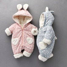 Baby Winter Jumpsuits Warm Long Sleeve Clothes For Twin Girls Zipper Design Hoodie Cute 3D Ears Boys