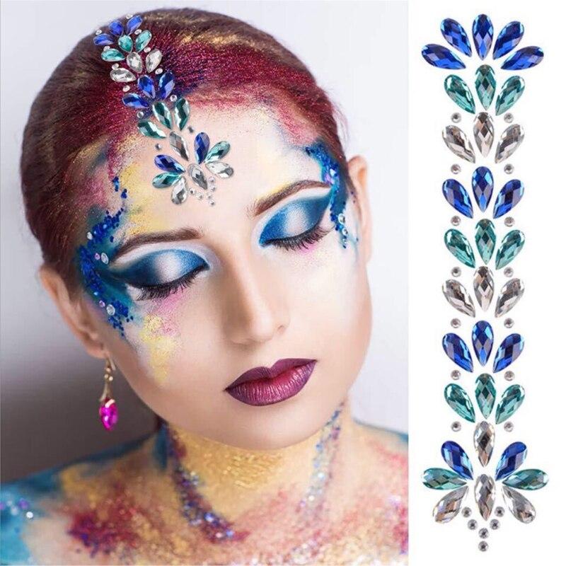 2020 novo Design Cristais Jóias Corpo Etiqueta Rainbow Cabelo Rosto Corpo Gemas Tatuagem Rosa Azul para a Festa
