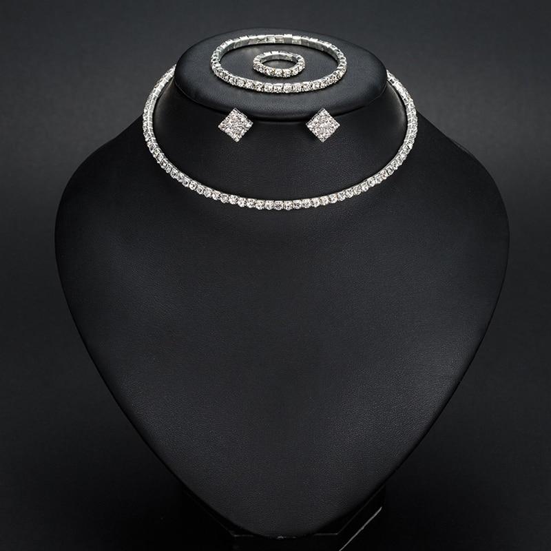 Conjuntos de joyas de boda YFJEWE, accesorios de boda, 1-5 filas de Gargantilla clásica de diamantes de imitación, collar, pendientes y pulsera N387