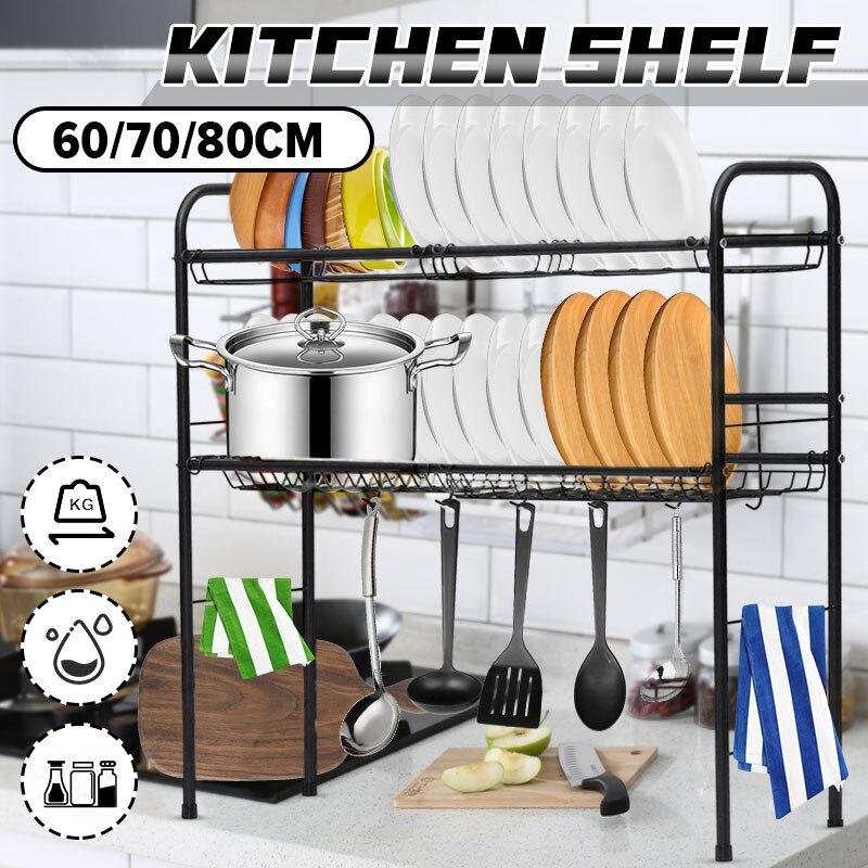 60/70/80 سنتيمتر الفولاذ المقاوم للصدأ المطبخ الرف المنظم أنحاء بالوعة طبق تجفيف رف حامل استنزاف تخزين الرف المنظم