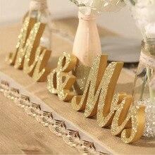 Kerst Houten Goud En Zilver Glitter Mr En Mrs Thuis Engels Woorden Voor Tafel Ornament Bruiloft Borden Fotografie Prop Decor
