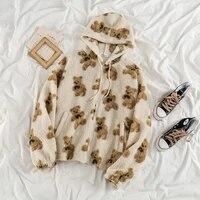 cartoon bear lamb wool womens hooded jacket casual oversized tops winter clothes woman jackets cute korean coats