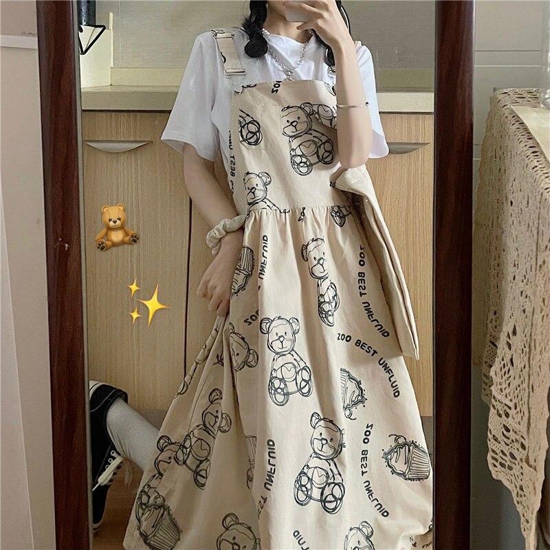 QWEEK Japanese Kawaii Bear Dress Women Summer 2021 Harajuku Cute Lolita Dress Tea Party Korean Fashion Female Soft Girls Mori