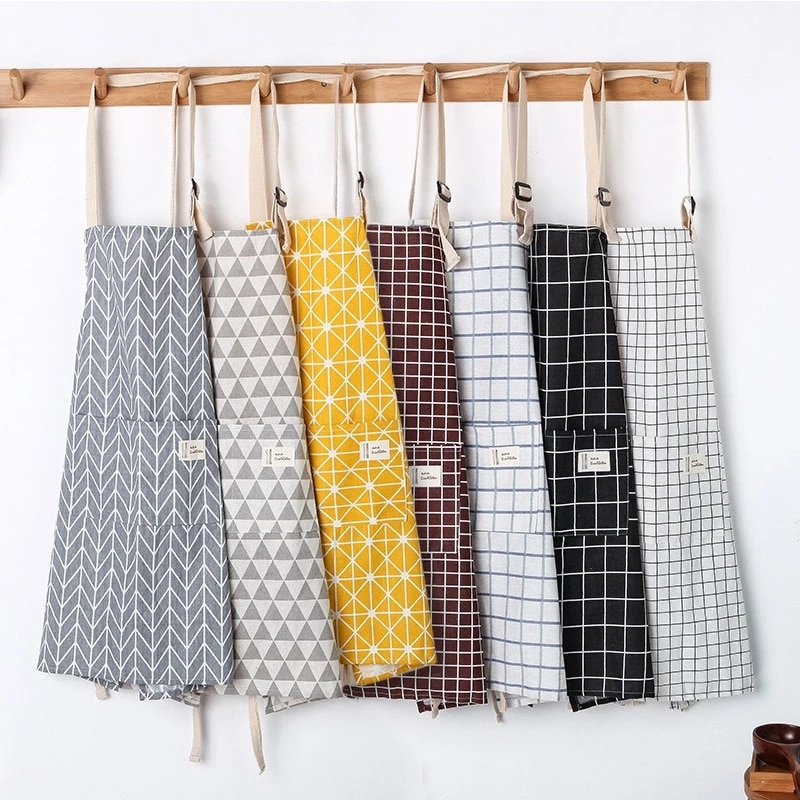 New Hot Fashion Lady Women Men Adjustable Cotton Linen High-grade Kitchen Apron For Cooking Baking Restaurant enlarge