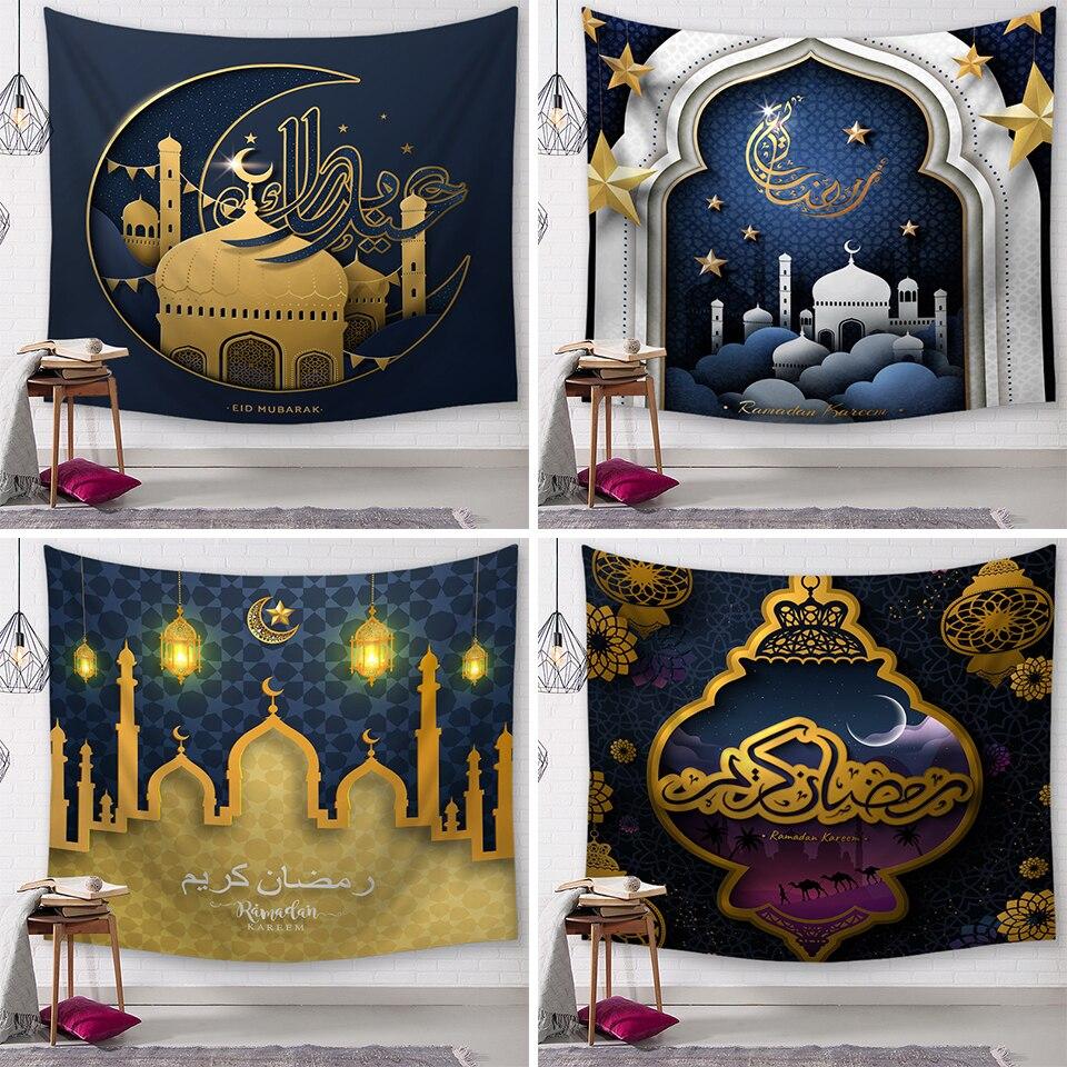 Мусульманская Золотая мечеть Рамадан фестиваль гобелен Бохо домашний Декор настенный гобелен из ткани Hd Печать Висячие настенные гобелены