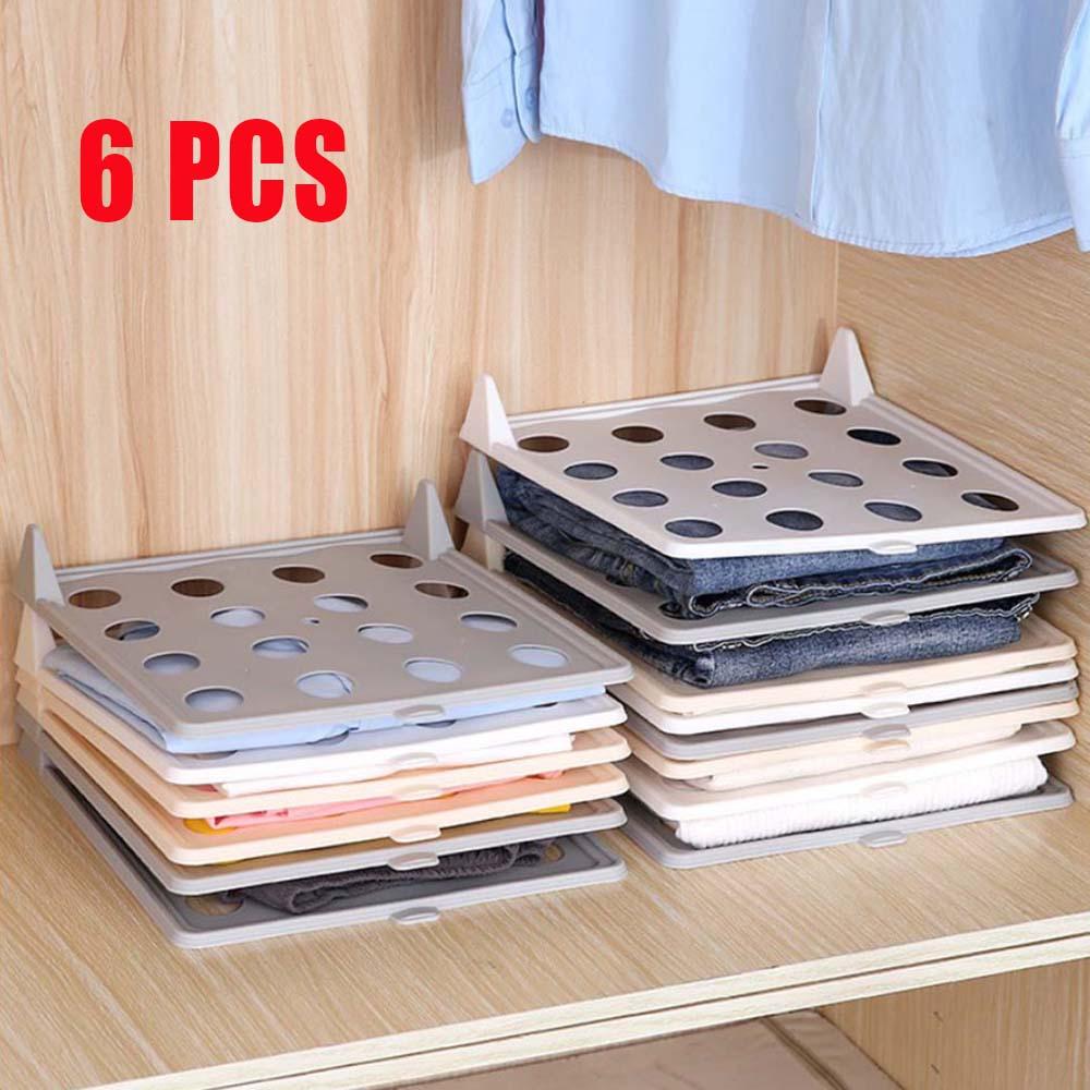 6 unids/set tabla para doblar ropa carpeta rápida reutilizable hogar armario organizador ropero PP viajes apilados tabla
