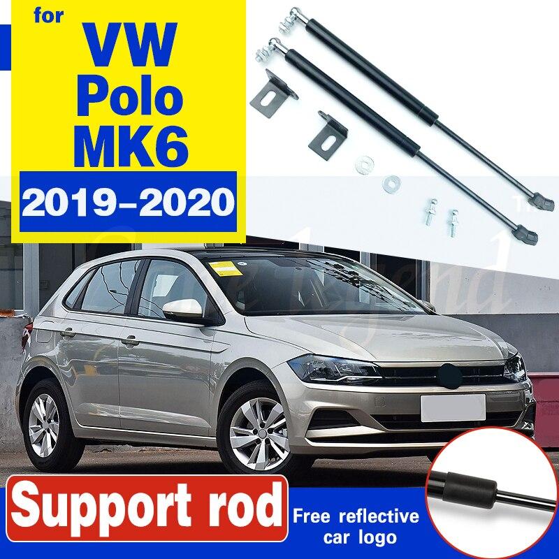 Para VW Polo 2019 2020 AW MK6 reajuste capó descarga de resorte de Gas barras de resorte de elevación soporte de barra Hraulic Car-styling