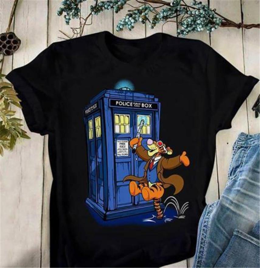Doctor Tigger Mash Up Doctor Who MenS negro camiseta algodón M-6Xl 25 30 40 50 cumpleaños camiseta