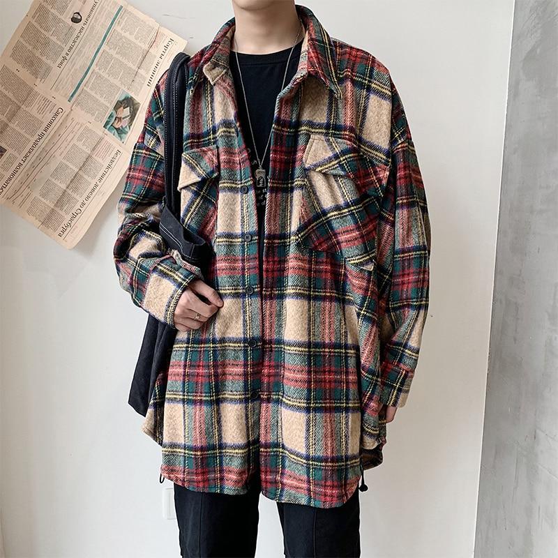 Утепленная Мужская шерстяная рубашка, модная повседневная куртка в стиле ретро, уличная одежда, свободное шерстяное пальто, рубашка с длинн...