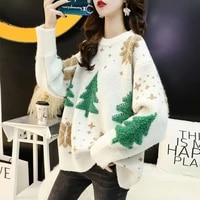 autumn red christmas snowflake pullover sweater women winter 2021 thicken casual soft loose round neck long sleeves knitted tops