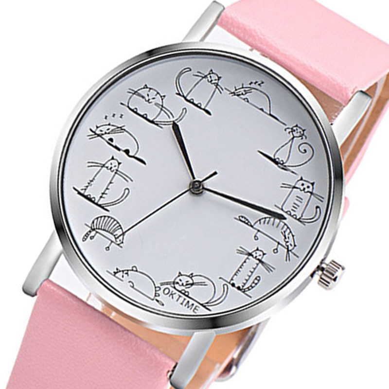Fashion Cute Cat Watches Women Casual Watches Leather Band Quartz Wristwatches Ladies Cheap Price Dr