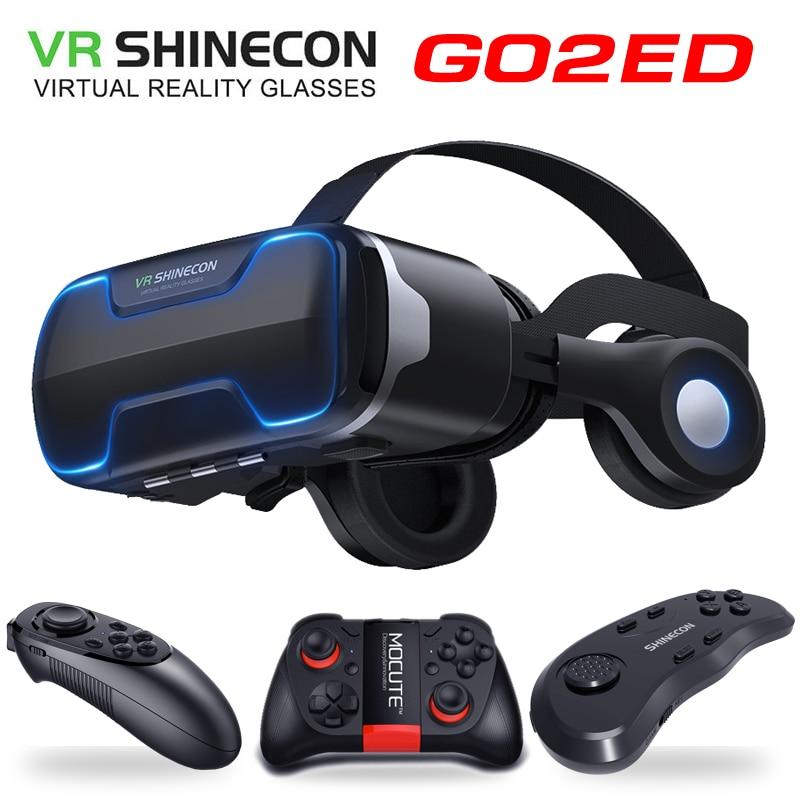 G02ED VR Shinecon 8.0 الإصدار القياسي وإصدار سماعة الرأس الواقع الافتراضي ثلاثية الأبعاد نظارات فيديو VR خوذة التحكم اختياري