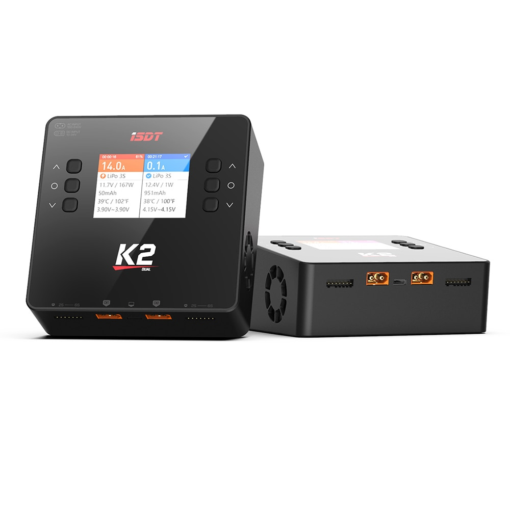 ISDT K1 AC 100W DC 2X250W K2 AC 200W DC 500Wx2 20A Dual Channel Balance Lipo Charger Discharger for Lipo NiMh Pb Battery