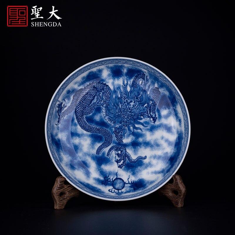 Yuanxu فرن الأزرق والأبيض الحطب فرن التنين نمط التقدير لوحة