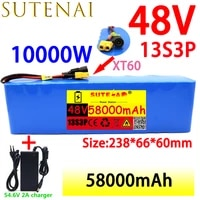 48v58ah 1000w 13s3p 48v lithium ion battery pack xt60 plug for 54 6v electric bicycle and scooter engine with bms54 6vcharger