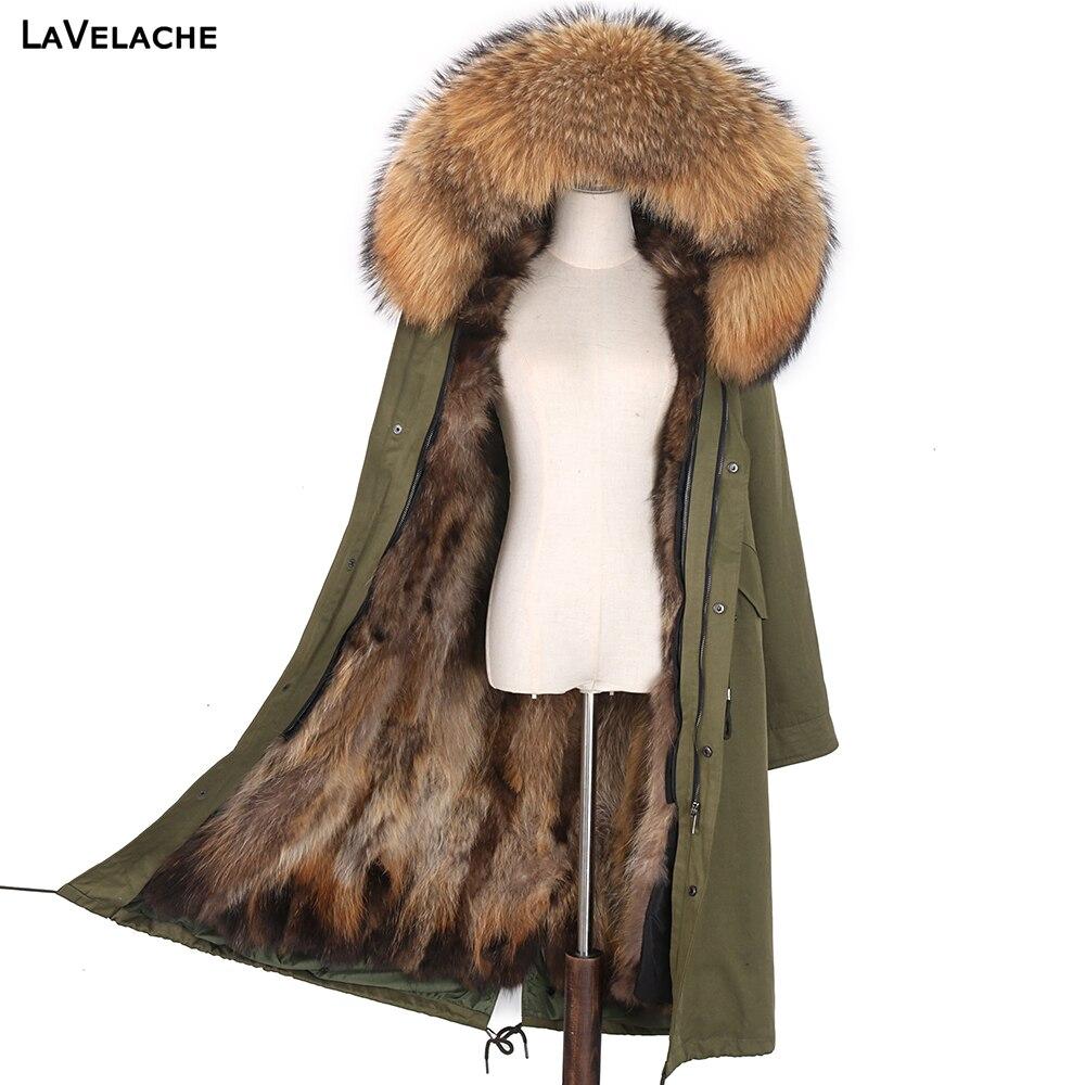 LaVelache معطف نسائي للشتاء من فرو الثعلب الحقيقي, جاكيت ضد الماء مع ياقة من فرو الثعلب الحقيقي مقاس 7XL