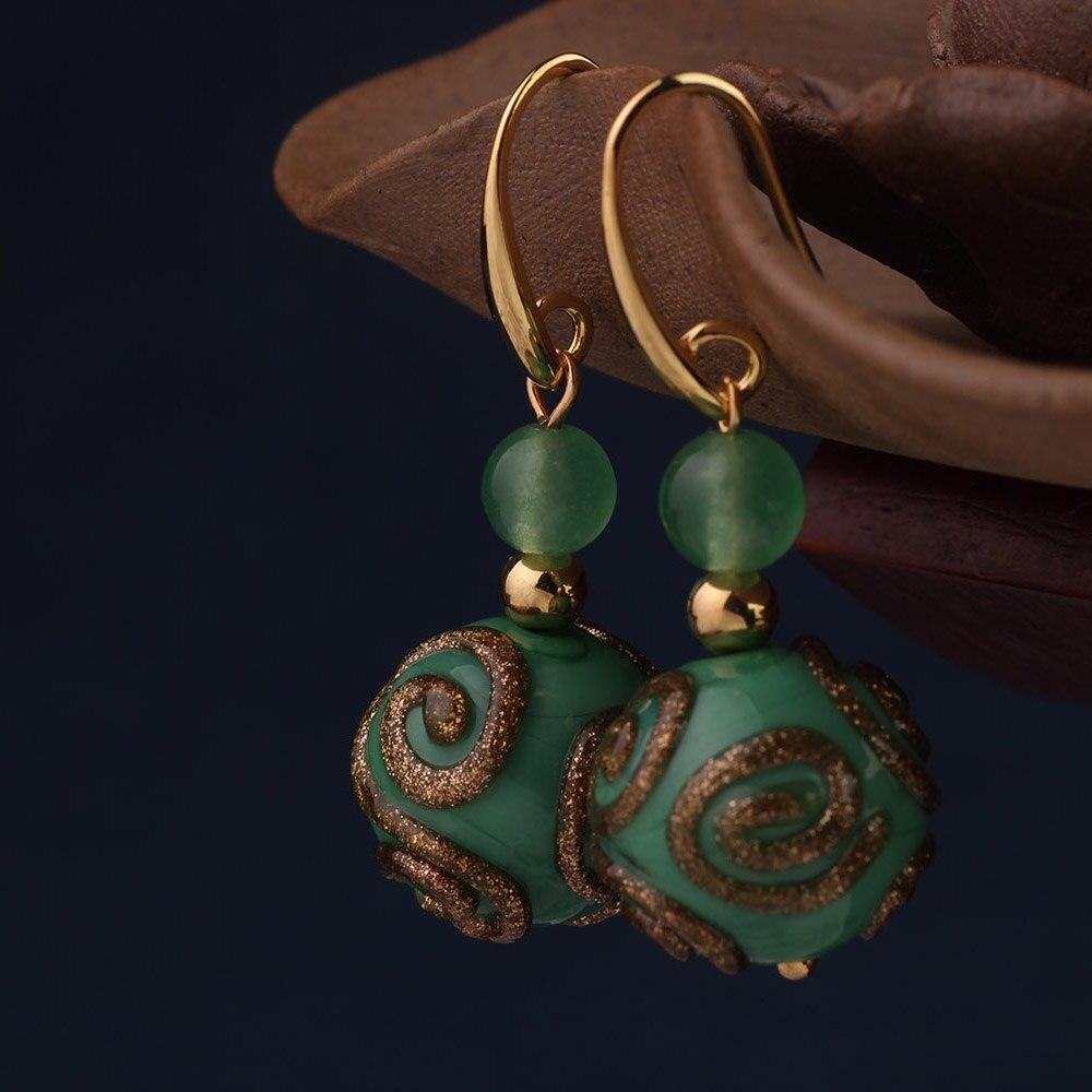 Retro gold-überzogene tropfen ohrringe frauen mode nationalen stil ohrringe einfache schmuck neue ohrringe grün ohrringe