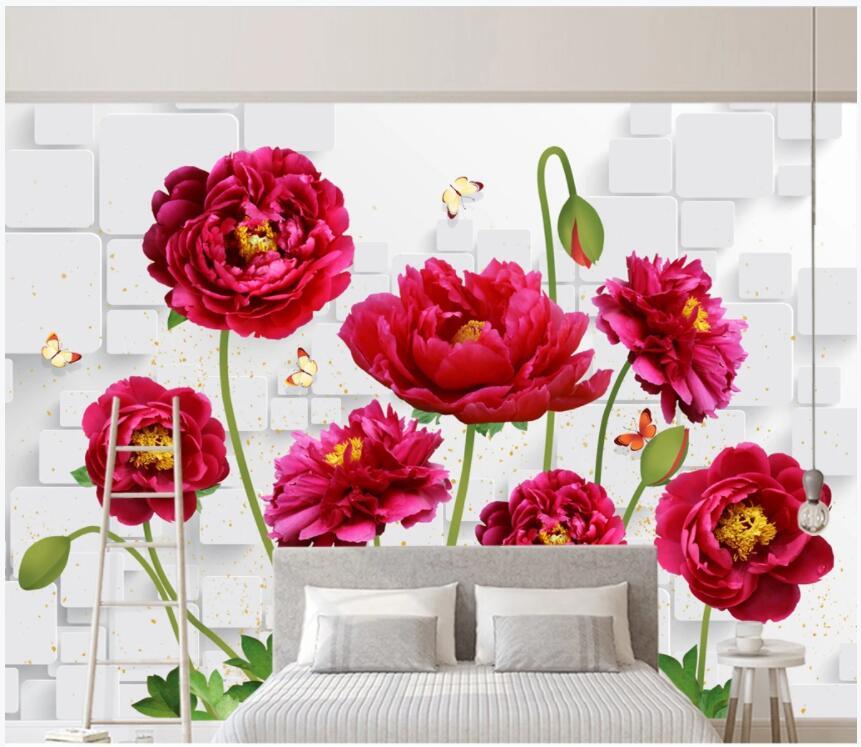 Papel tapiz 3d con foto personalizada, papel tapiz HD con diseño de flor de peonía, mariposa, pared de ladrillo, sala de estar, decoración del hogar, papel tapiz de pared 3d para paredes 3 d