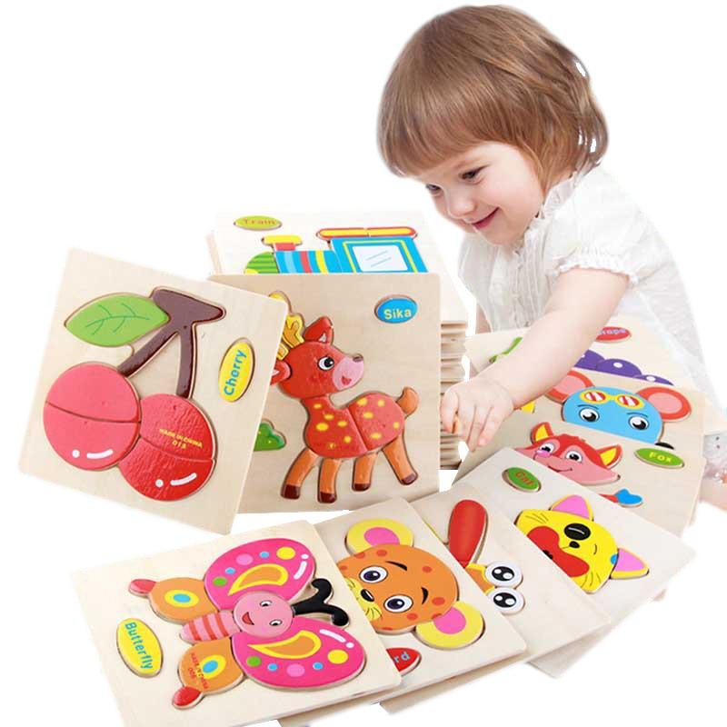 Baby Toys Wooden 3d Puzzle Cartoon Animal Intelligence Kids Educational Brain Teaser Children Tangra