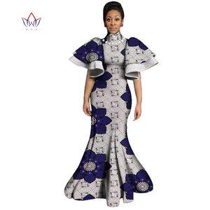 Женское длинное вечернее платье Vestidos с расклешенным рукавом, африканские платья с принтом, сексуальные африканские платья для женщин WY3047