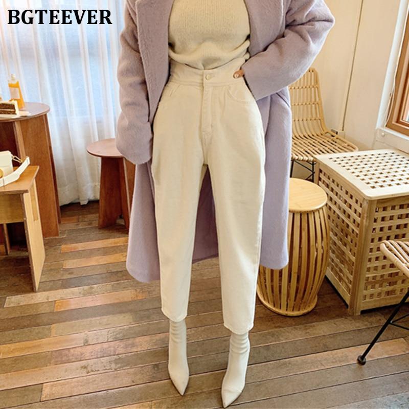 BGTEEVER Women Harem Jeans Pants Fashion High Waist Loose White Denim Jeans Female Buttons Trousers