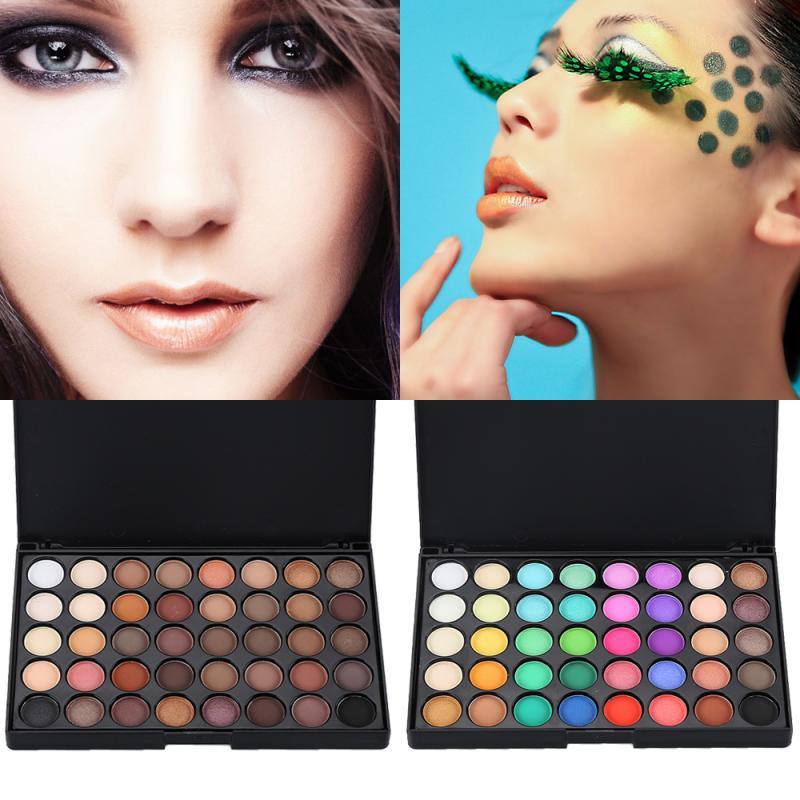 Paleta de maquillajes de sombra de ojos cosmética mate de 40 colores + cepillo USA