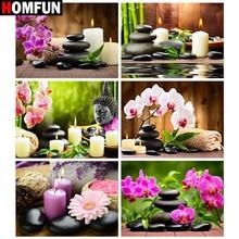"HOMFUN Full Drill Diamond Painting""Orchid stone candle Buddha""DIY Picture Of Rhinestone 5D Diamond Embroidery Cross Stitch Decor"