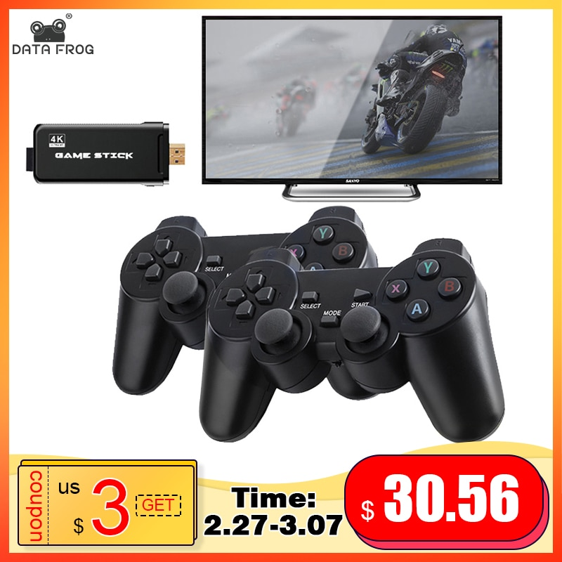DATA FROG 4K HD Video Game Console 2.4G Double Wireless Controller For PS1/GBA Classic Retro TV Game