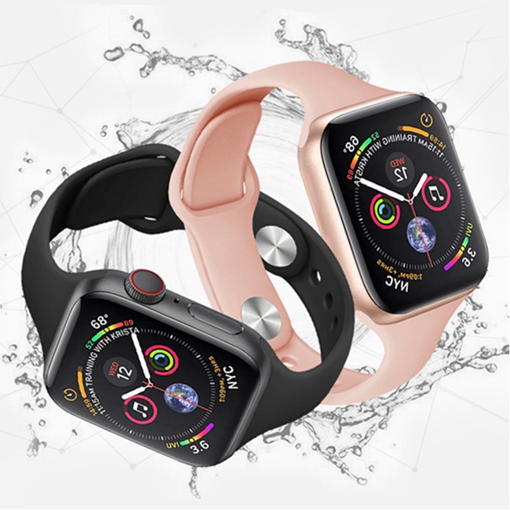 Тонкие полосы для apple watch band 4 44 мм 40 мм (iwatch 5) apple watch 3 2 1 ремешок 42 мм 38 мм силиконовый ремешок аксессуары
