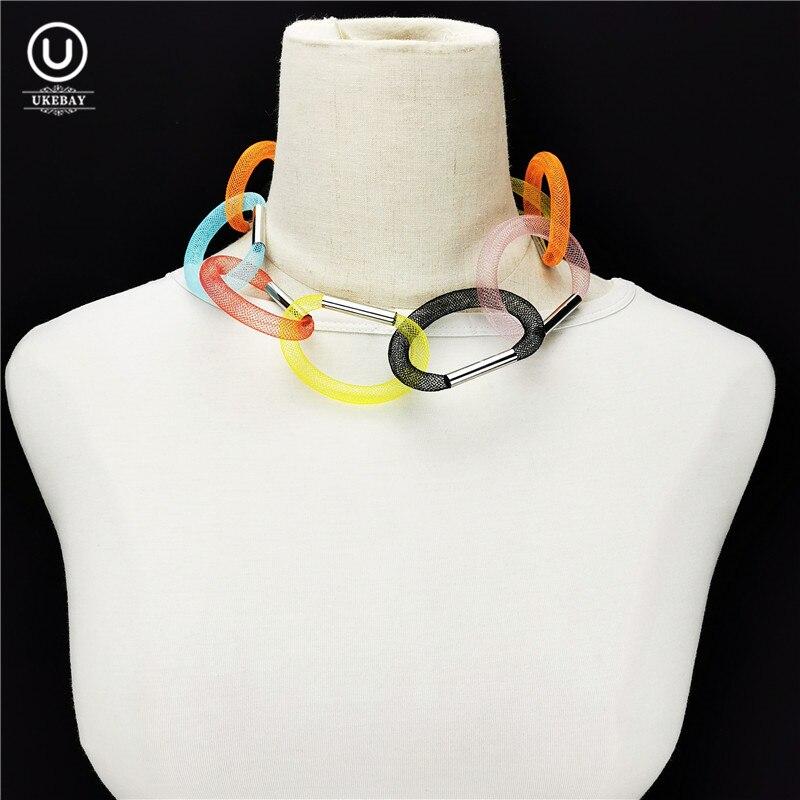 Ukebay novo multicolorido gargantilha colares tubo de liga malha colar designer jóias artesanais roupas femininas festa luxo jóias