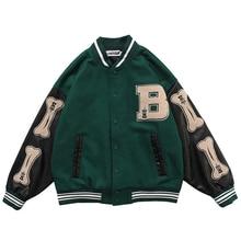 Men PU Leather Long Sleeve Bomber Jackets Vintage Patchwork Bone Embroidery Baseball Jacket 2020 Aut