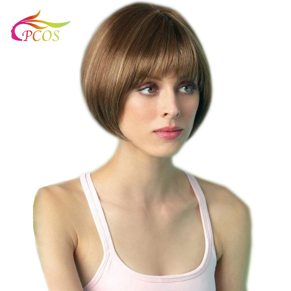 Female Short BOB Wig Synthetic Brown Color Hair Side Part Heat Resistant Wigs with Bangs for American Women