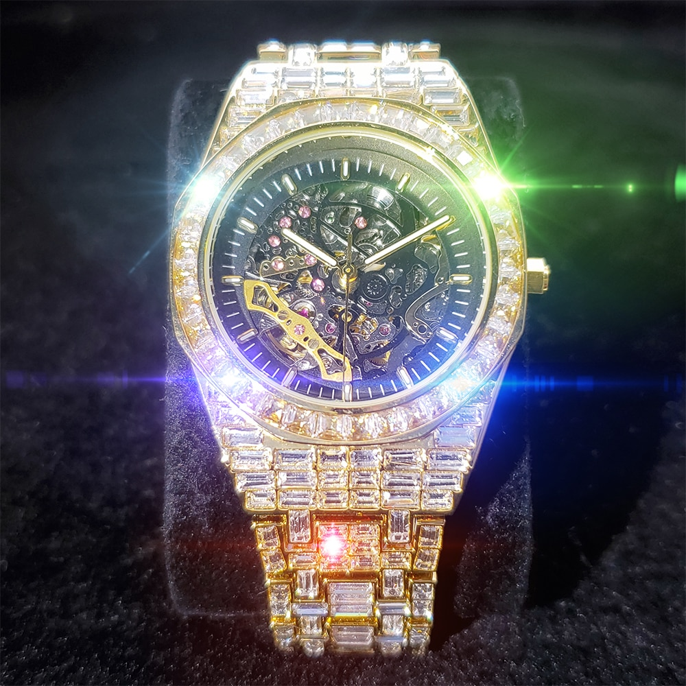 ساعة يد رجالي ميكانيكية مجوفة من MISSFOX ساعة يد مرصعة بالألماس مربعة الشكل ساعات رجالية رجالية فاخرة أنيقة ساعة يد عملية
