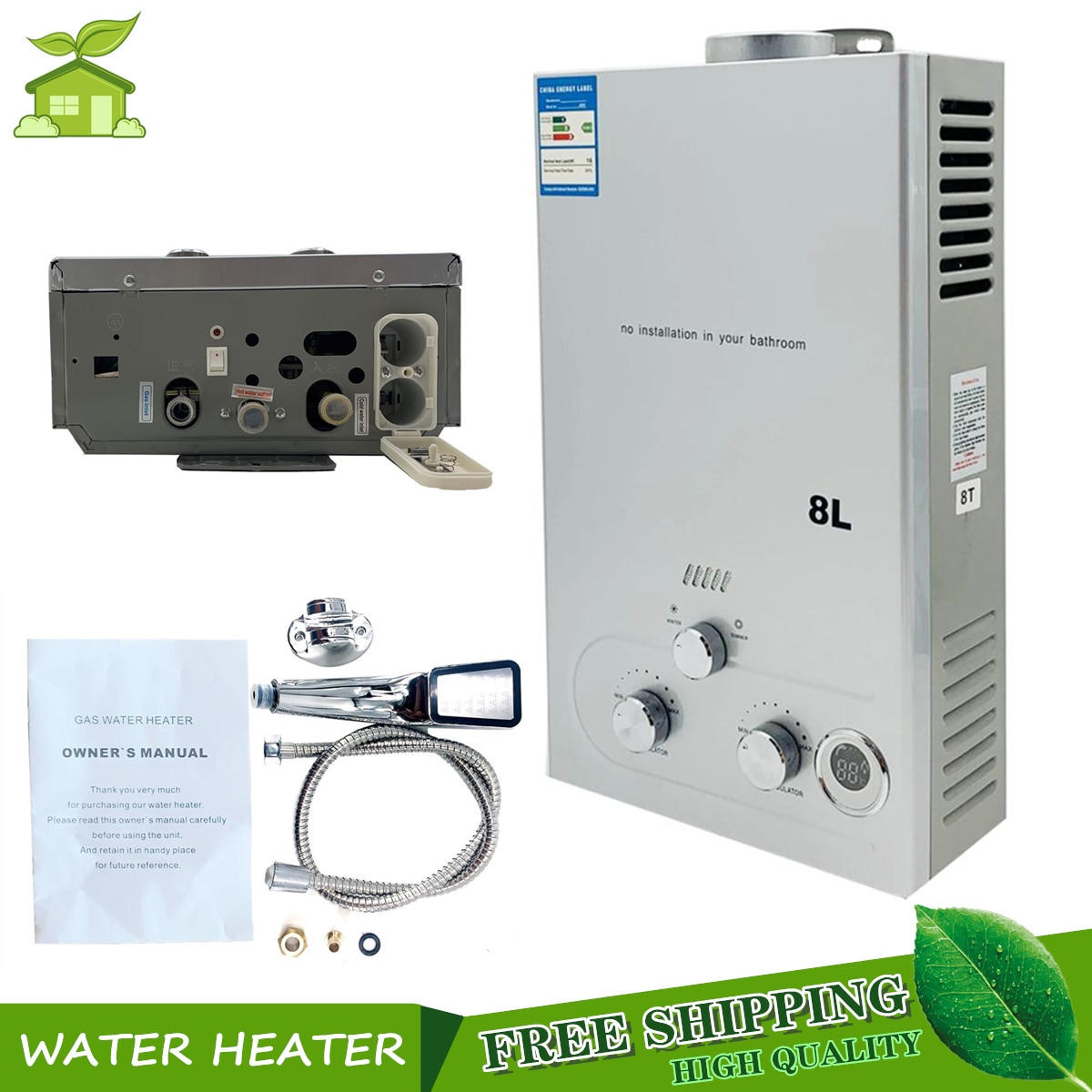 8L Tankless Propane Gas Water Heater 16KW LPG Instant Hot Water Heater Boiler LED Display Outdoor Ca