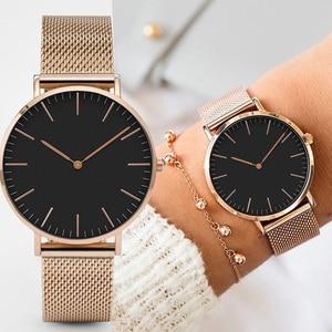 Часы наручные женские ультратонкие, модные кварцевые классические, с сетчатым ремешком из нержавеющей стали, цвет розовое золото, повседневные