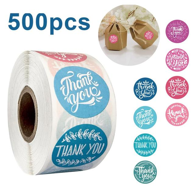 500Pcs/roll 8 Types Thank You Sticker for Seal Label Scrapbooking