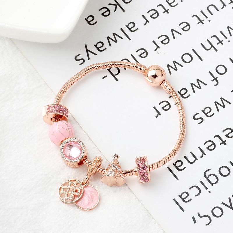Rosa de ouro árvore de natal amor charme pulseiras & pulseiras presente feminino rosa contas pulseira jóias diy
